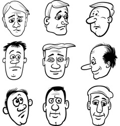 cartoon men characters heads set vector image