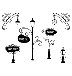 Cartoon street lamps and signboards vector