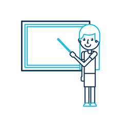 Cartoon teacher with pointer standing in front of vector