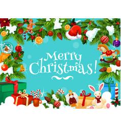 Christmas gift frame holiday design vector