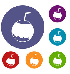 Coconut with straw icons set vector