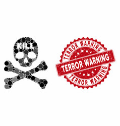 Collage kill death with distress terror warning vector