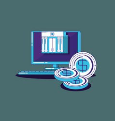 computer and coins vector image