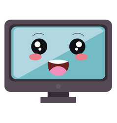 computer display kawaii character vector image
