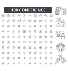 conference editable line icons 100 set vector image
