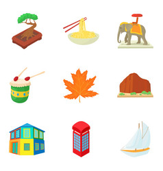 Continental travel icons set cartoon style vector