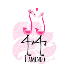 couple of pink flamingos on floral background vector image