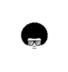 creative afro hair geek style logo vector image