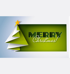 creative christmas tree fold from green paper vector image