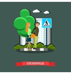 Crosswalk concept flat design vector image