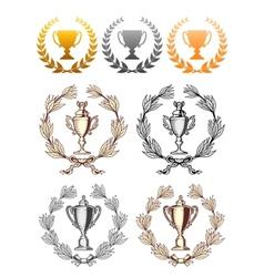 Cup trophies with laurel wreath vector image