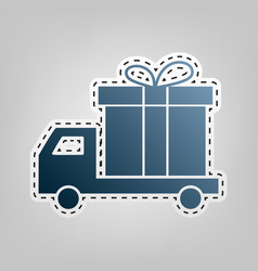 delivery gift sign blue icon with outline vector image