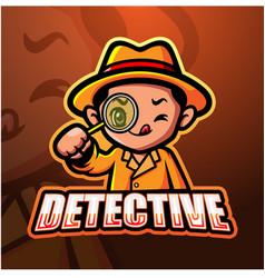 Detective mascot esport logo design vector