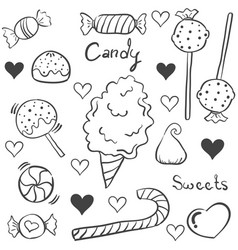 Doodle of sweet candy various collection vector