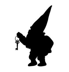 dwarf silhouette tale small gnome vector image