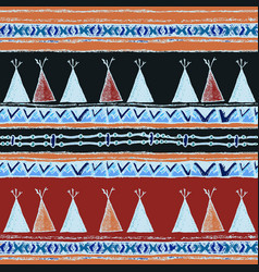 Ethnic wigwam colored seamless pattern vector