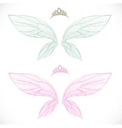 Fairy wings with tiara bundled isolated on a white vector image