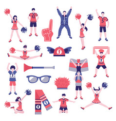 fans supporters flat icons collection vector image