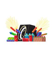 Fireworks party salute elements set vector