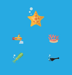Flat icon sea set of sea star algae periscope vector