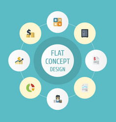 Flat icons algebra paper net income and other vector