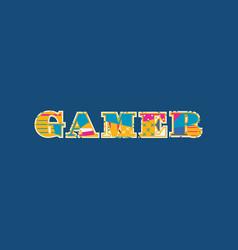 Gamer concept word art vector