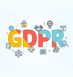 Gdpr concept card poster paper art design vector