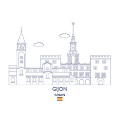 Gijon city skyline vector
