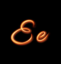 Glowing light letter e hand lighting painting vector