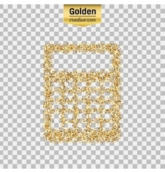 Gold glitter icon of calculator isolated on vector