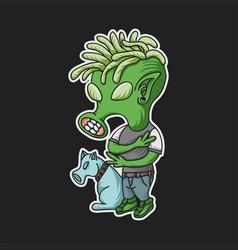 green alien funky vector image