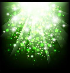 green sun light burst background with bokeh vector image