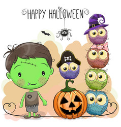 Halloween card with boy and owls vector