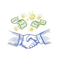 Handshake two businessmen sketch vector