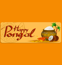 happy pongal holiday harvest and festival orange vector image