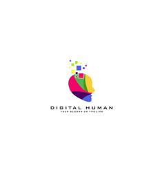 Human digital logo design vector