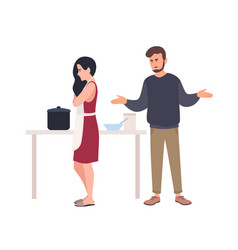 Husband shouting at wife while she is cooking vector