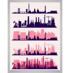 Industrial trendy city skyline colored sets vector