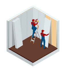 Isometric man installing drywall gypsum panels vector