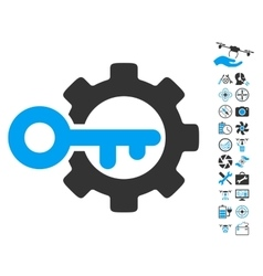 Key Options Icon With Copter Tools Bonus vector