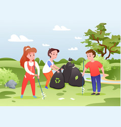 kids collect garbage group boy and girl sort vector image