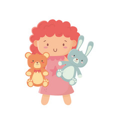 Kids toy little doll with teddy bear and rabbit vector