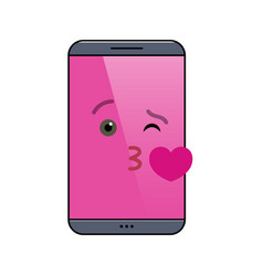 Kissing mobile phone isolated emoticon vector