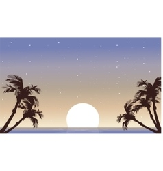 Landscape palm and full moon silhouette vector