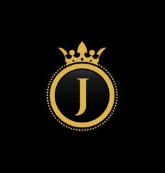 letter j royal crown luxury logo design vector image