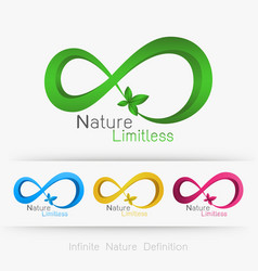 Logo infinity with leaf vector