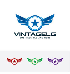 logo vintage wings with star vector image