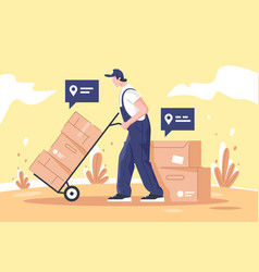man cargo delivers goods and boxes using points on vector image