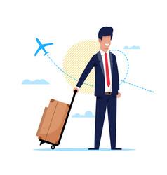 Man traveling plane around world cartoon flat vector