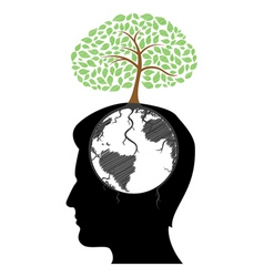 man's mind with tree vector image
